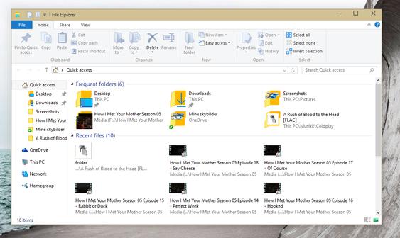Windows Utforsker viser nå også dine sist brukte filer og mest besøkte mapper.