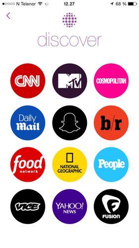 Her er Snapchat-kanalene som foreløpig er tilgjengelig for norske brukere.
