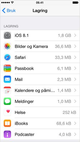 Under «Bruk» får du enkelt oversikt over hva som tar plass på iPhonen din.