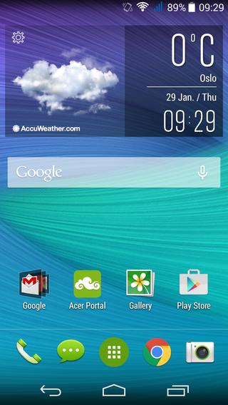 Acers brukergrensesnitt er oversiktlig og enkelt.