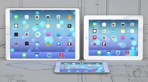 Denne illustrasjonen fra Gizmochina viser hvordan en 12,9-tommers iPad Plus kan komme til å se ut. iPad 2 til høyre, og iPad Mini foran.
