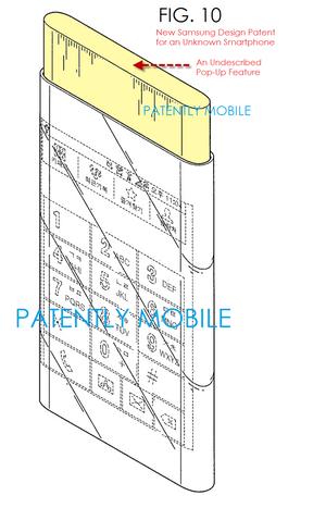 Den lekkede patenttegningen vise en mobiltelefon fra Samsung som kan være Glaxy S6 med både buet skjermpanel og en utfellbar kjerne.
