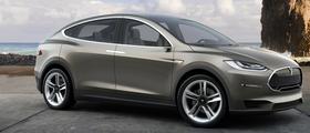 Model X slik den fremstår på Teslas forside.