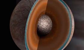 Slik ser innsiden av Europa ut. Det tynne laget med flytende vann kan sees nesten helt ytterst mot skallet på månen.