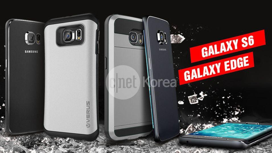 Dette bildet skal vise Samsung Galaxy S6 med deksler fra dekselprodusenten Verus. Til høyre ses det som kan være en spesialutgave med skjerm som går ned langs begge kanter av telefonen.