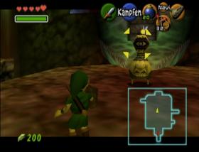Skjermbilde fra et av de mest populære Zelda-spillene i serien, «Ocarina of Time».