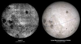 1959- versus 2009-bilder av den andre siden av månen.