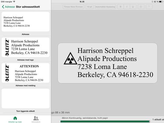 Appen til iPad har flere valgmuligheter, men heller ikke denne er særlig god om du vil utforme etiketter fra bunnen av.
