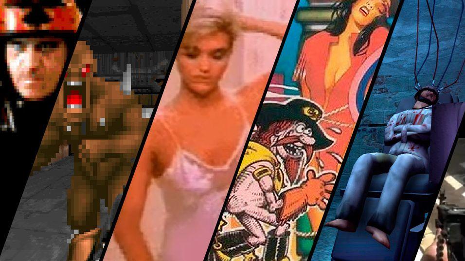 Fra venstre: Carmageddon, DOOM, Night Trap, Custer's Revenge, Manhunt og Call of Duty.