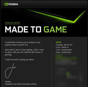 Slik ser invitasjonen fra Nvidia ut.
