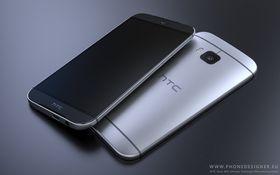 Forsiden og baksiden av HTC One (M9), ifølge Phone Designer.