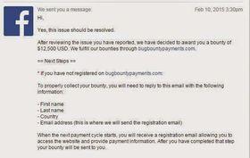Mailen fra Facebook som bekrefter feilen og lover Muthiyah belønning for strevet.