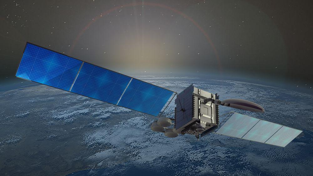 En typisk satellitt for telekommunikasjon. Dette er Telenors Thor 7-satellitt.