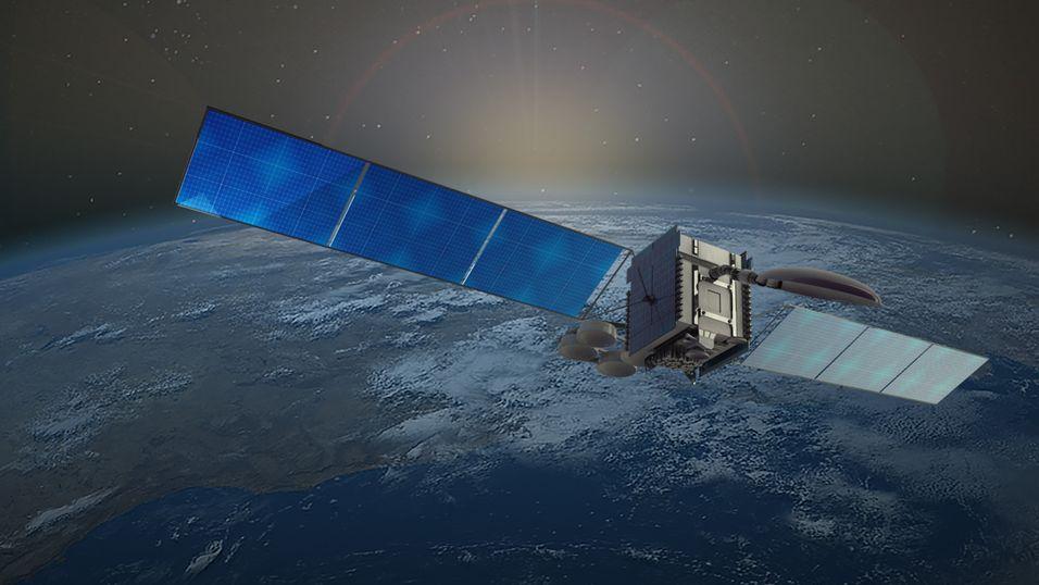 Slik ser en kunstner for seg at Telenors Thor7-satellitt skal se ut. Nå ber LSE-forsker Jill Stuart bransjen om å satse mer på cybersikkerhet.