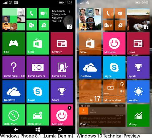 Så fort vi har fått valgt bakgrunnsbilde på Windows 10-telefonen blir i hvert fall én designforskjell fra Windows Phone 8.1 til Windows 10 synlig.
