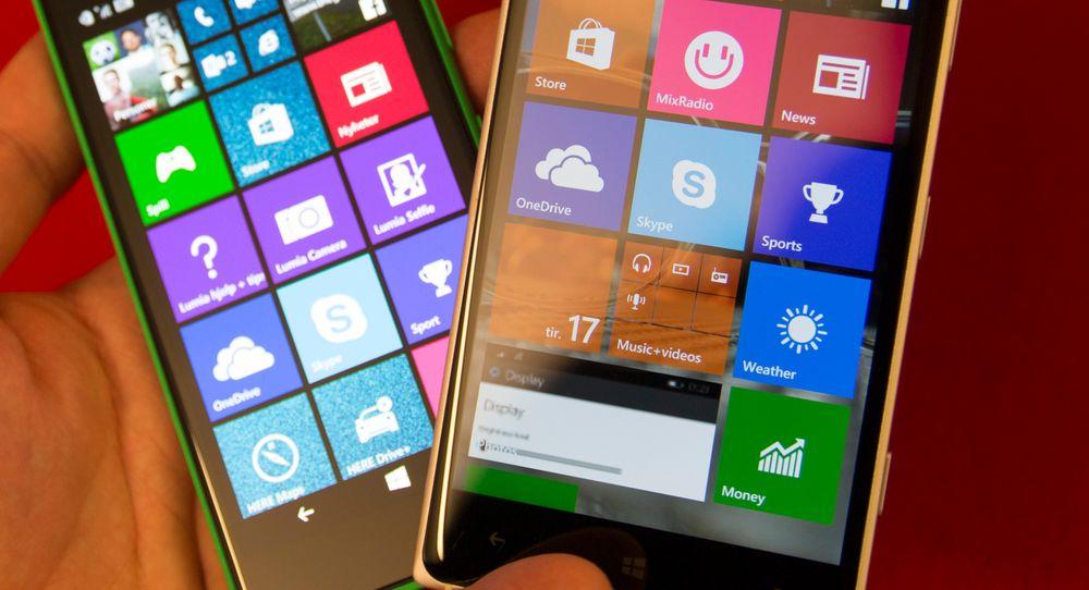 Vi la inn Windows 10 Technical Preview for phones (puh!) på Lumia 830. Telefonen til venstre er en Lumia 735 som fortsatt kjører Windows Phone 8.1.