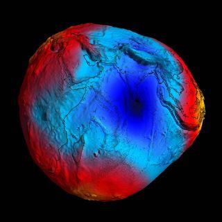 Dette er geoiden sett gjennom satellitten GOCE i 2011.
