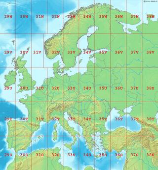 Her ser vi Europas UTM-soner.