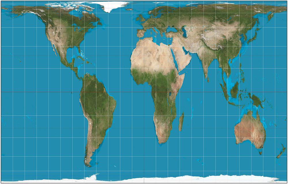 Dette er et verdenskart der Afrika faktisk er omtrent 14,5 ganger større enn Grønland, slik også virkeligheten er. Områder nærme ekvator er imidlertid strukket i nord-sør-retning og områdene nærme polene er flattrykte.
