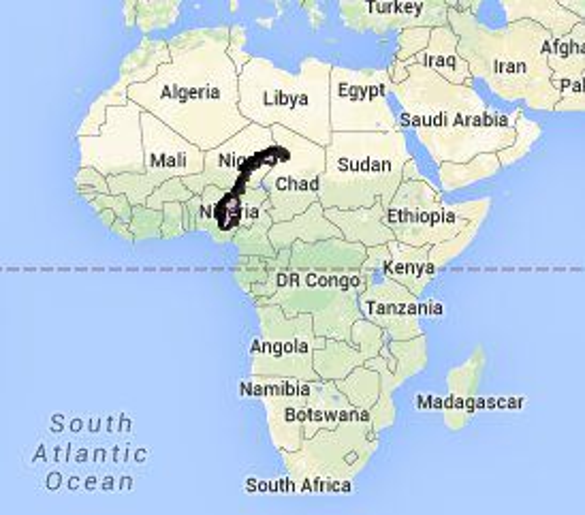 Så lite er Norge sammenlignet med Afrika.