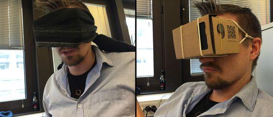 Cardboard kommer ikke med et hodebånd, men vi fant et par måter å feste brillene til hodet likevel.