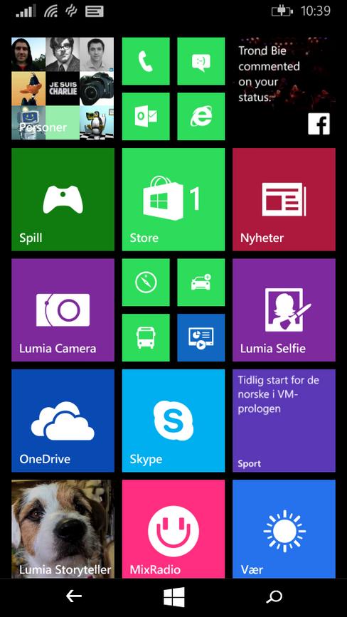 Hjemmeskjermen ser slik ut i dag, men vil i løpet av noen måneder bli erstattet av en litt oppfrisket variant i Windows 10.