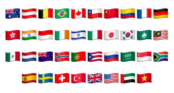 De 27 nye Unicode-flaggene.