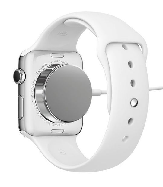 Slik lades Apple Watch.