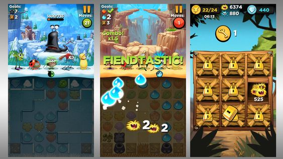 Jelly Splash + Angry Birds = Best Fiends.