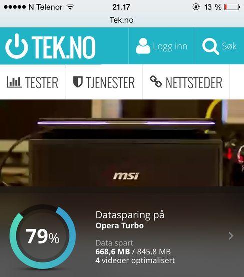 Etter flere hundre nettsider og fire videosnutter kunne vi se at vi hadde spart 79 prosent datatrafikk med Opera Minis Turbo-modus og laveste kvalitet på bilder.