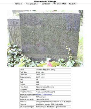 Jeg finner gravsteinen hans på nettet.