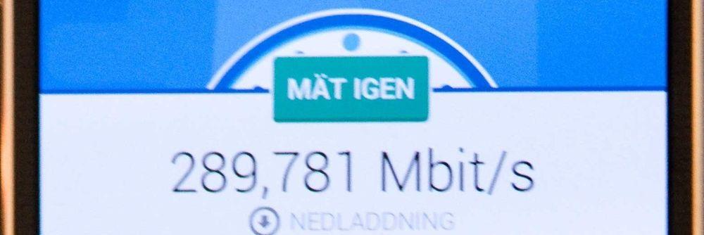 Denne målingen på 290 Mbit/s er den råeste hastigheten hittil i norske mobilnett.