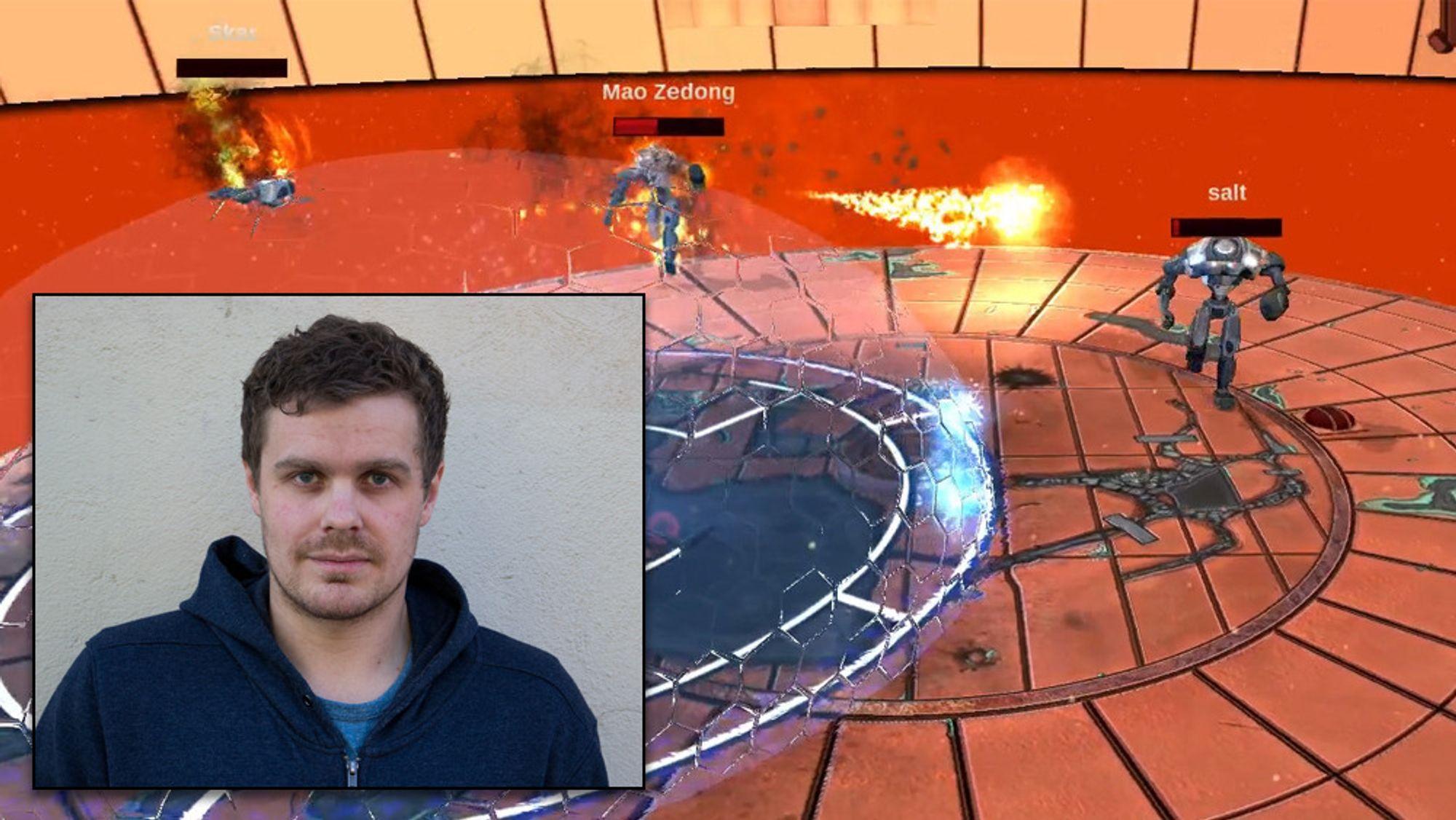 Thomas Munthe lover heftige robotkamper i Corroded. Skjermbildet er fra en veldig tidlig utgave av spillet.
