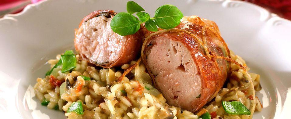 Kylling med parmaskinke og risotto - Aperitif.no