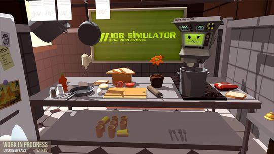 Vi prøver oss på Job Simulator. Underveis knuser vi en kniv, kverker en ketchup-flaske i mikrobølgeovnen og lager «suppe» basert på et helt biffstykke, to tomater og en gulrot.
