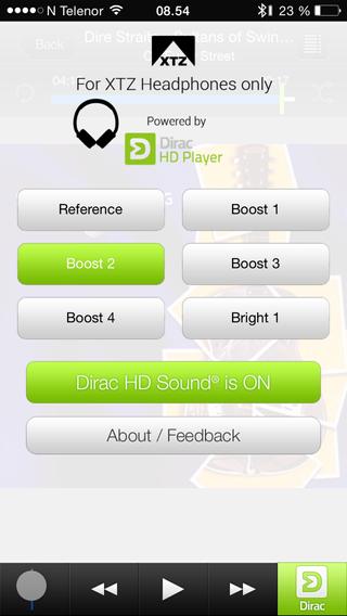 I appen kan du slå av eller på DSP-funksjonen.