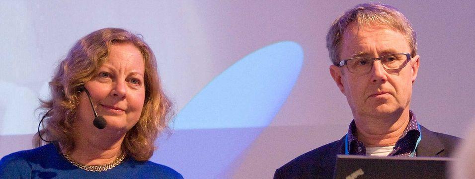 """Administrerende direktør i Telenor Norge, Berit Svendsen og dekningsdirektør Bjørn Amundsen kunne både fortelle at selskapet forserer utbyggingen av 4G og at de tar i bruk 4G+, eller """"Carrier Aggregation"""", en del av LTE-Advanced-standarden før sommeren."""