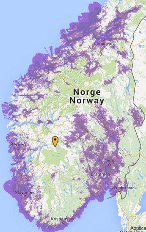 Slik er dekningskartet i Sør-Norge akkurat nå. I nord har Netcom kun dekning i Troms.