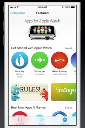 Det vil være en egen seksjon i App Store for Apple Watch-apper.