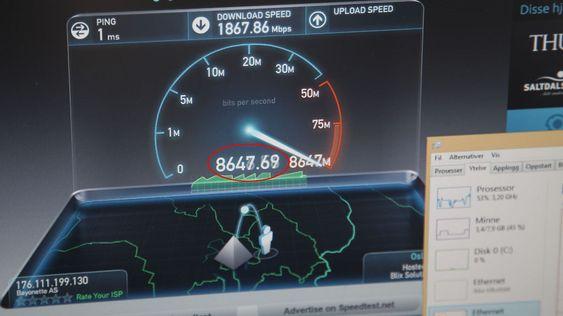 Å finne tjenester som kan utnytte 10 gigabit er nær umulig - men her får vi demonstrert 8,6 gigabit i praksis.
