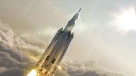 Kunstnerisk fremstilling av det fremtidige SLS-fartøyet, som drives av RS-25-rakettene.