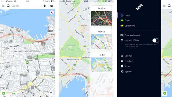 Du kan vise flere ulike lag i kartene, og hele appen er lagt opp for bruk også der du ikke har nett.