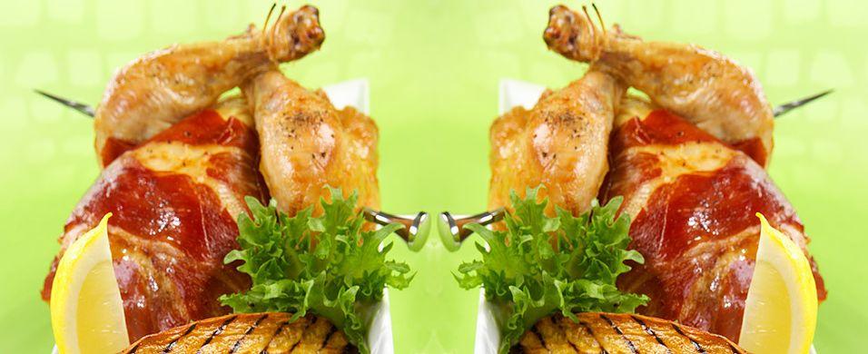 DAGENS RETT: Helstekt vårkylling med skinke og søtpotet