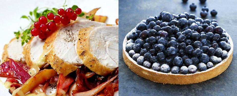 DAGENS RETT: Helstekt kalkunfilet med eplesaus og Pascals blåbærterte