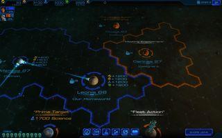 Et rutenett illustrerer innflytelsen din på galaksen.  Dette er fra en tidlig fase i spillet - du kan fort bli omringet!