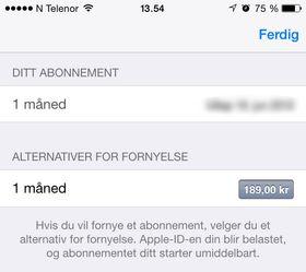 Omtrent slik ser abonnements-valget ut på iOS.