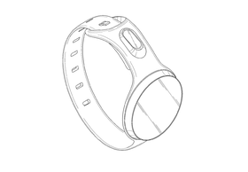Illustrasjonstegning av Samsung kommende smartklokke fra patentdokumentet.