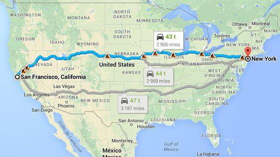 Google foreslår en noe kortere rute en Delphi har planlagt.