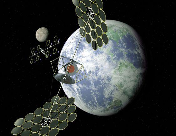 Et konseptbilde av en satellitt som kan samle solenergi i verdensrommet.
