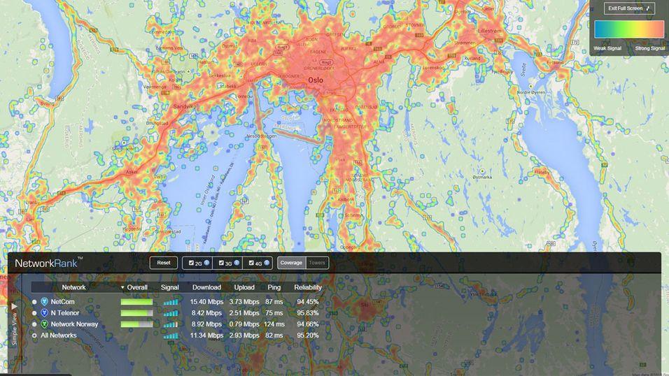 Slik er dekningen i Oslo, ifølge OpenSignal.